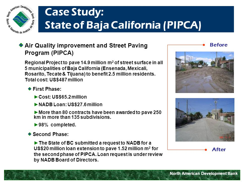 North American Development Bank Case Study: State of Baja California (PIPCA) Air Quality improvement and Street Paving Program (PIPCA) Regional Project to pave 14.9 million m 2 of street surface in all 5 municipalities of Baja California (Ensenada, Mexicali, Rosarito, Tecate & Tijuana) to benefit 2.5 million residents.