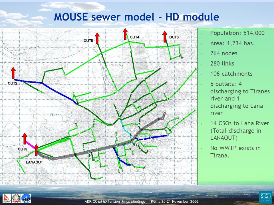 ADRICOSM-EXTension Final Meeting, - Roma 20-21 November 2006 MOUSE sewer model - HD module Population: 514,000 Area: 1,234 has.