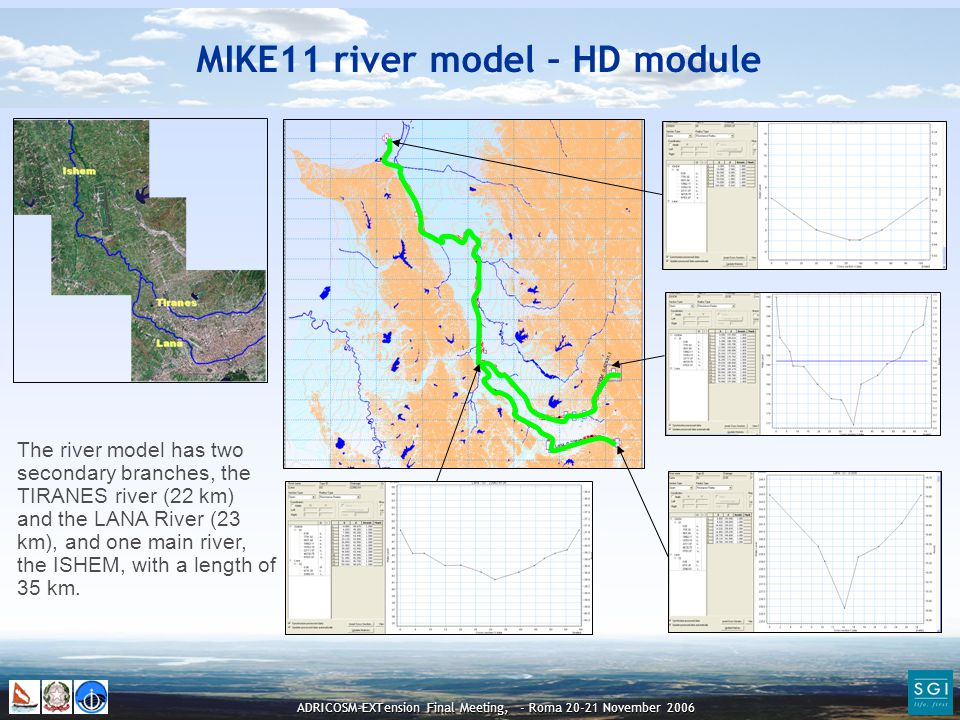 ADRICOSM-EXTension Final Meeting, - Roma 20-21 November 2006 The river model has two secondary branches, the TIRANES river (22 km) and the LANA River (23 km), and one main river, the ISHEM, with a length of 35 km.