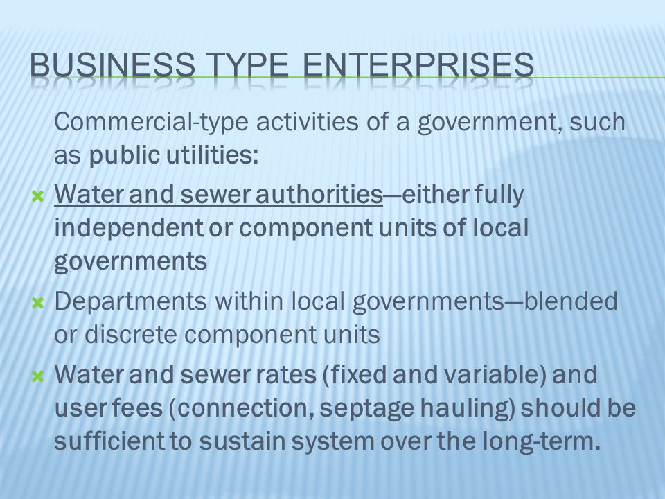Commercial-type activities of a government, such as public utilities:  Water and sewer authorities—either fully independent or component units of loc