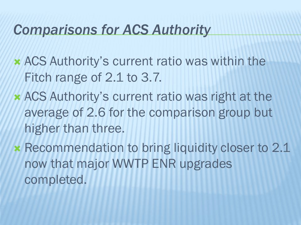  ACS Authority's current ratio was within the Fitch range of 2.1 to 3.7.  ACS Authority's current ratio was right at the average of 2.6 for the comp