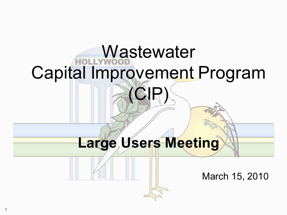 1 Wastewater Capital Improvement Program (CIP) Large Users Meeting March 15, 2010
