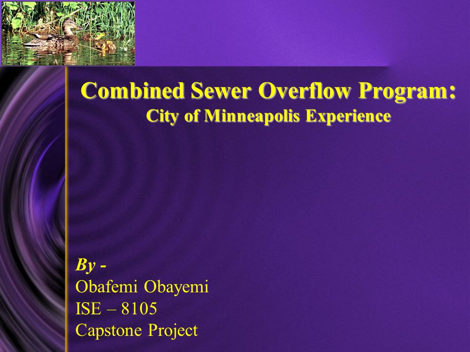 Combined Sewer Overflow Program : City of Minneapolis Experience Combined Sewer Overflow Program : City of Minneapolis Experience By - Obafemi Obayemi ISE – 8105 Capstone Project