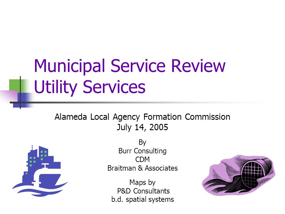 Municipal Service Review Utility Services Alameda Local Agency Formation Commission July 14, 2005 By Burr Consulting CDM Braitman & Associates Maps by P&D Consultants b.d.