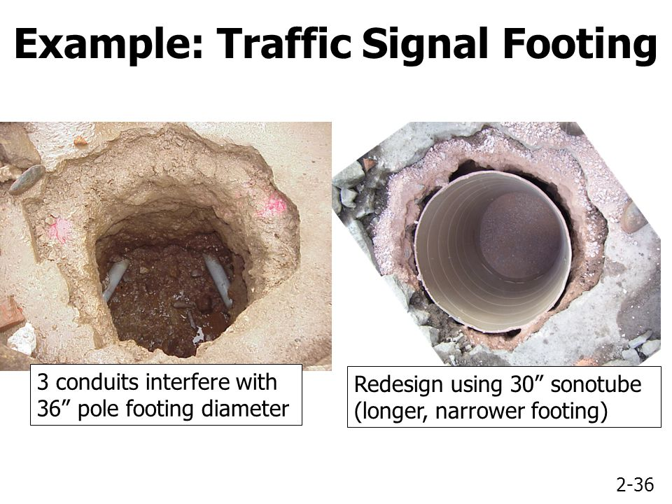 2-36 3 conduits interfere with 36 pole footing diameter Example: Traffic Signal Footing Redesign using 30 sonotube (longer, narrower footing)