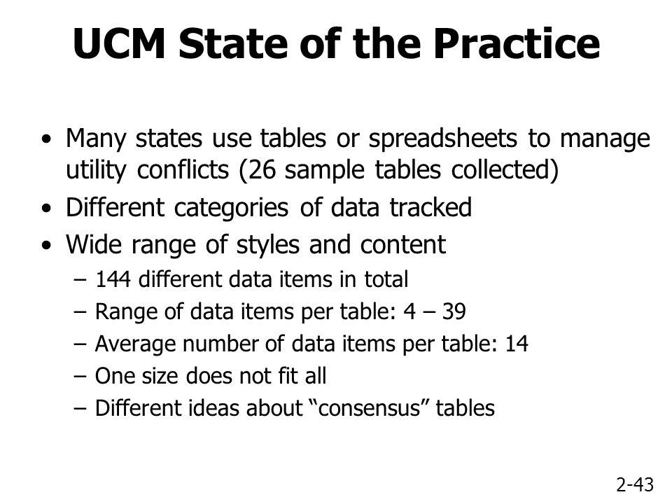 2-43 UCM State of the Practice Many states use tables or spreadsheets to manage utility conflicts (26 sample tables collected) Different categories of data tracked Wide range of styles and content –144 different data items in total –Range of data items per table: 4 – 39 –Average number of data items per table: 14 –One size does not fit all –Different ideas about consensus tables