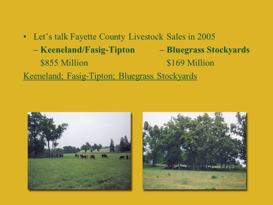 Let's talk Fayette County Livestock Sales in 2005 – Keeneland/Fasig-Tipton– Bluegrass Stockyards $855 Million $169 Million Keeneland; Fasig-Tipton; Bluegrass Stockyards