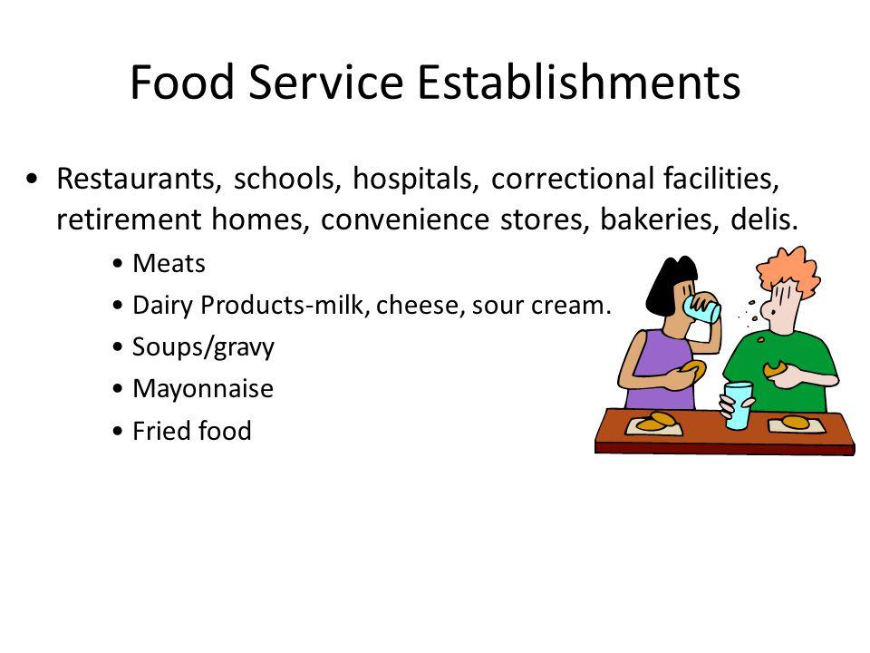 Food Service Establishments Restaurants, schools, hospitals, correctional facilities, retirement homes, convenience stores, bakeries, delis.