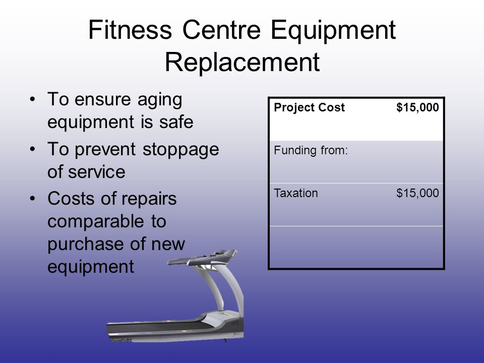 Fitness Centre Equipment Replacement To ensure aging equipment is safe To prevent stoppage of service Costs of repairs comparable to purchase of new e
