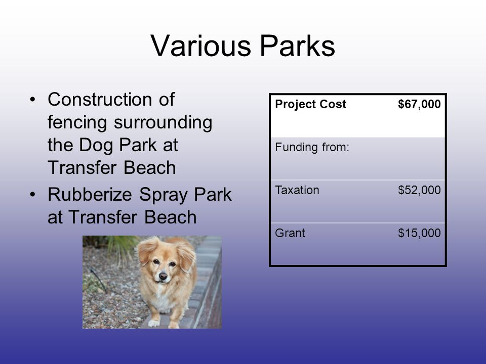 Various Parks Construction of fencing surrounding the Dog Park at Transfer Beach Rubberize Spray Park at Transfer Beach Project Cost$67,000 Funding fr