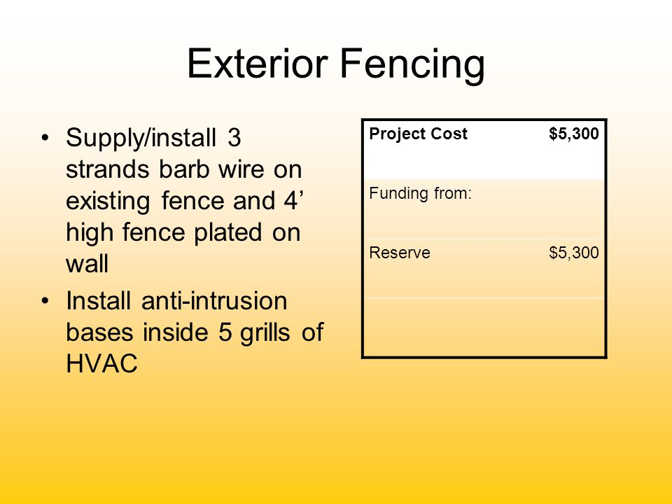 Exterior Fencing Supply/install 3 strands barb wire on existing fence and 4' high fence plated on wall Install anti-intrusion bases inside 5 grills of