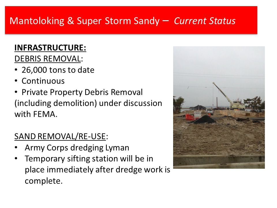 Mantoloking & Super Storm Sandy – Current Status INFRASTRUCTURE: DEBRIS REMOVAL: 26,000 tons to date Continuous Private Property Debris Removal (including demolition) under discussion with FEMA.