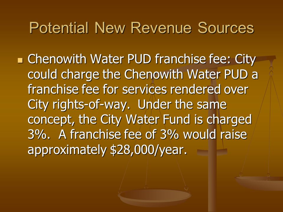 Potential New Revenue Sources Chenowith Water PUD franchise fee: City could charge the Chenowith Water PUD a franchise fee for services rendered over City rights-of-way.