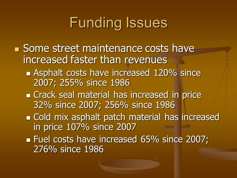 Funding Issues Some street maintenance costs have increased faster than revenues Some street maintenance costs have increased faster than revenues Asphalt costs have increased 120% since 2007; 255% since 1986 Asphalt costs have increased 120% since 2007; 255% since 1986 Crack seal material has increased in price 32% since 2007; 256% since 1986 Crack seal material has increased in price 32% since 2007; 256% since 1986 Cold mix asphalt patch material has increased in price 107% since 2007 Cold mix asphalt patch material has increased in price 107% since 2007 Fuel costs have increased 65% since 2007; 276% since 1986 Fuel costs have increased 65% since 2007; 276% since 1986