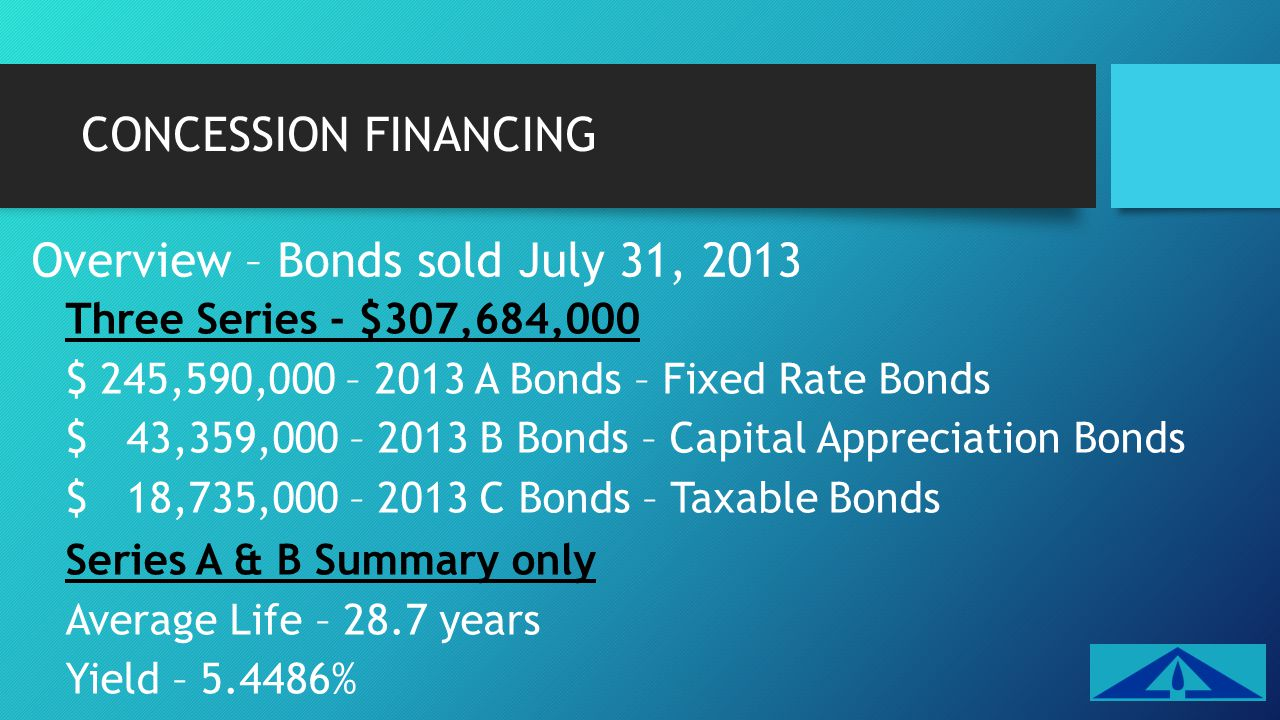Overview – Bonds sold July 31, 2013 Three Series - $307,684,000 $ 245,590,000 – 2013 A Bonds – Fixed Rate Bonds $ 43,359,000 – 2013 B Bonds – Capital Appreciation Bonds $ 18,735,000 – 2013 C Bonds – Taxable Bonds Series A & B Summary only Average Life – 28.7 years Yield – 5.4486%