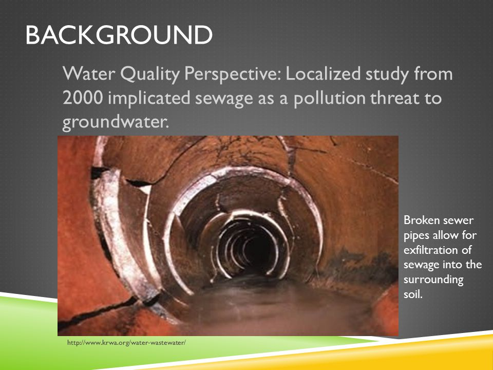 BACKGROUND Water Quality Perspective: Localized study from 2000 implicated sewage as a pollution threat to groundwater.