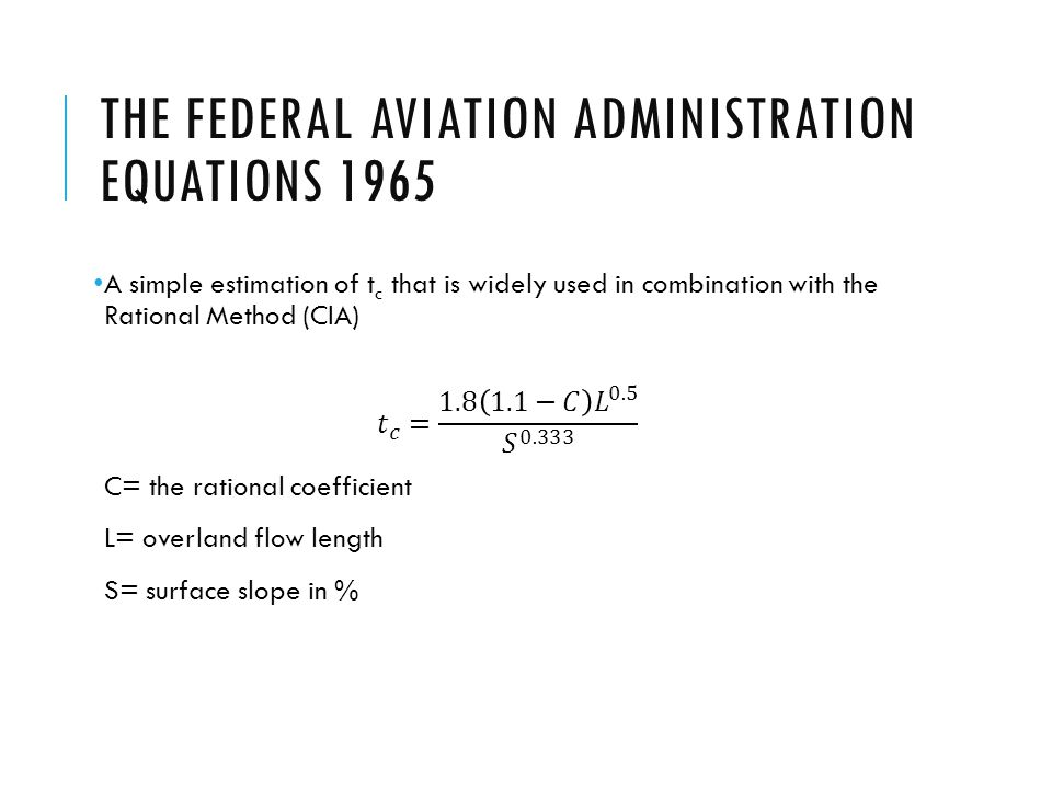 THE FEDERAL AVIATION ADMINISTRATION EQUATIONS 1965