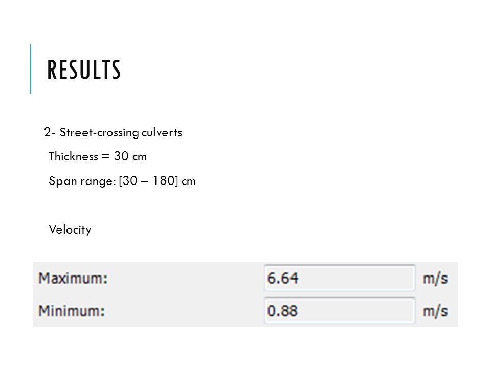 RESULTS 2- Street-crossing culverts Thickness = 30 cm Span range: [30 – 180] cm Velocity