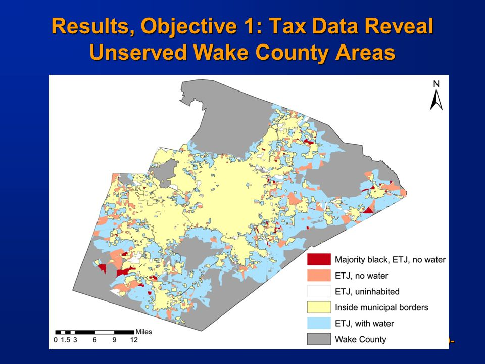 -10- Results, Objective 1: Tax Data Reveal Unserved Wake County Areas Data sources: Demographics: U.S. Census (2010)-block level Water service: Wake C