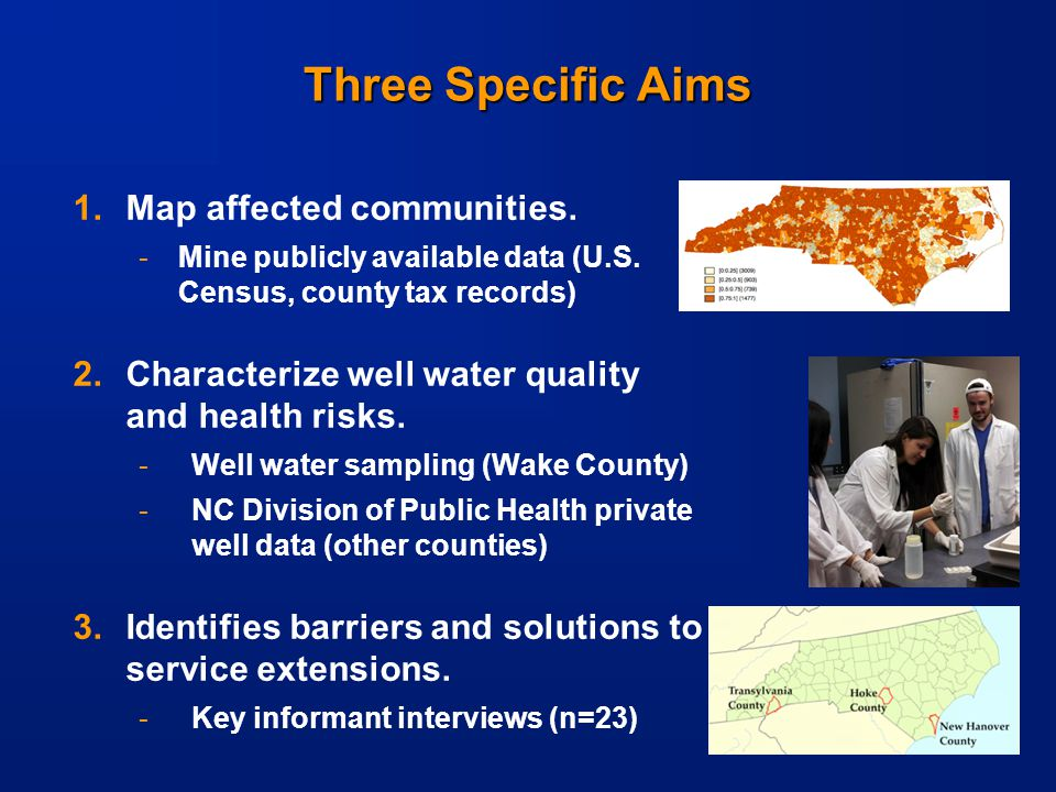-9- Three Specific Aims 1.Map affected communities.