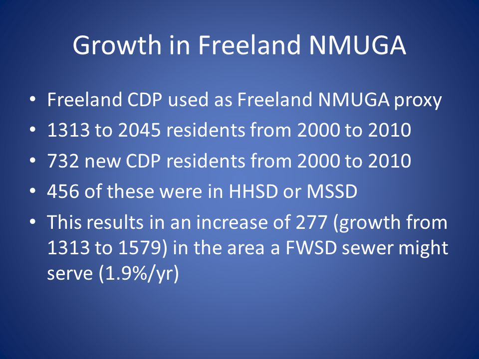 Growth in Freeland NMUGA Freeland CDP used as Freeland NMUGA proxy 1313 to 2045 residents from 2000 to 2010 732 new CDP residents from 2000 to 2010 456 of these were in HHSD or MSSD This results in an increase of 277 (growth from 1313 to 1579) in the area a FWSD sewer might serve (1.9%/yr)