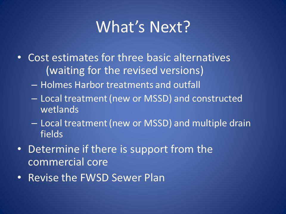 What's Next? Cost estimates for three basic alternatives (waiting for the revised versions) – Holmes Harbor treatments and outfall – Local treatment (