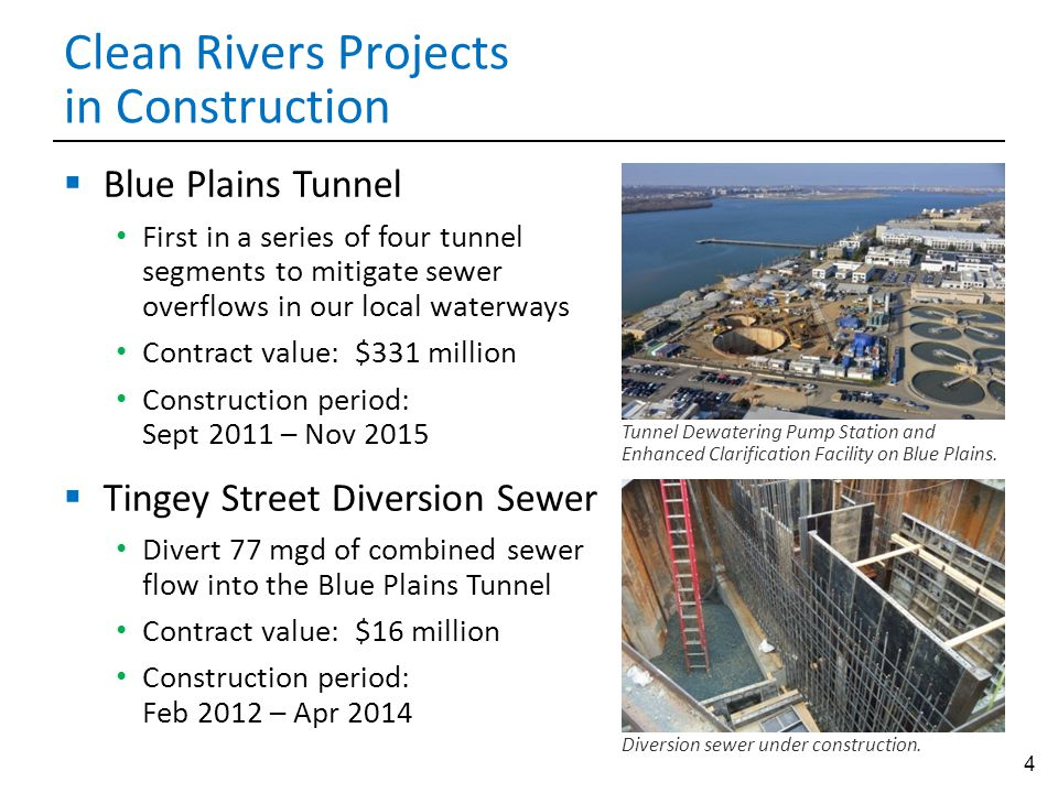 4 Clean Rivers Projects in Construction Diversion sewer under construction.