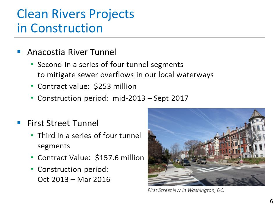 6 Clean Rivers Projects in Construction  Anacostia River Tunnel Second in a series of four tunnel segments to mitigate sewer overflows in our local waterways Contract value: $253 million Construction period: mid-2013 – Sept 2017  First Street Tunnel Third in a series of four tunnel segments Contract Value: $157.6 million Construction period: Oct 2013 – Mar 2016 First Street NW in Washington, DC.