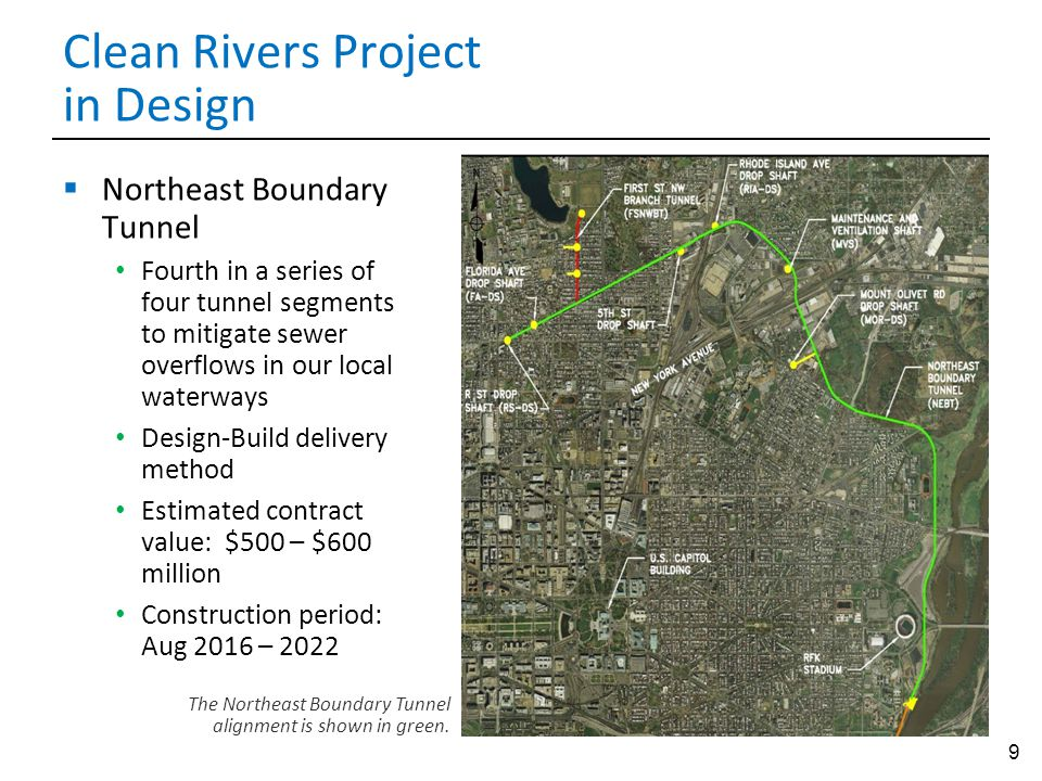9 Clean Rivers Project in Design  Northeast Boundary Tunnel Fourth in a series of four tunnel segments to mitigate sewer overflows in our local waterways Design-Build delivery method Estimated contract value: $500 – $600 million Construction period: Aug 2016 – 2022 The Northeast Boundary Tunnel alignment is shown in green.