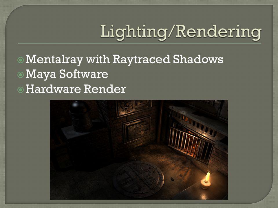  Mentalray with Raytraced Shadows  Maya Software  Hardware Render