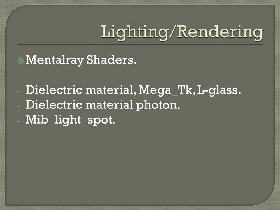  Mentalray Shaders. - Dielectric material, Mega_Tk, L-glass. - Dielectric material photon. - Mib_light_spot.
