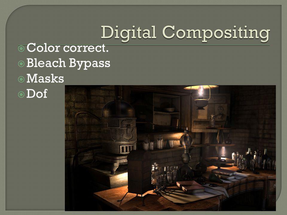  Color correct.  Bleach Bypass  Masks  Dof