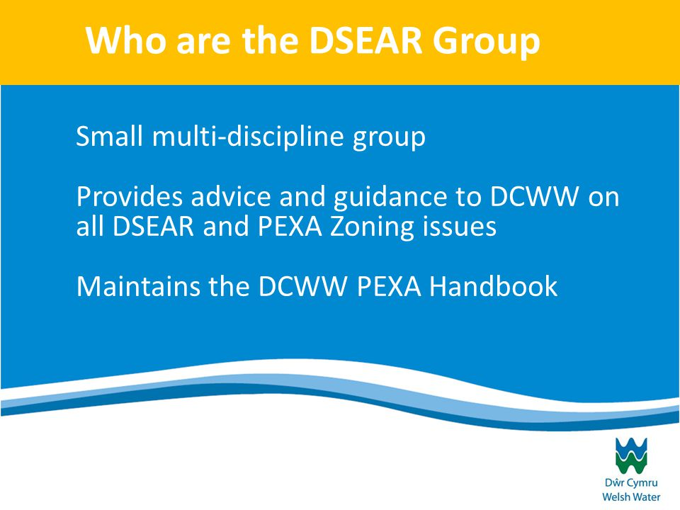 Who are the DSEAR Group Small multi-discipline group Provides advice and guidance to DCWW on all DSEAR and PEXA Zoning issues Maintains the DCWW PEXA Handbook