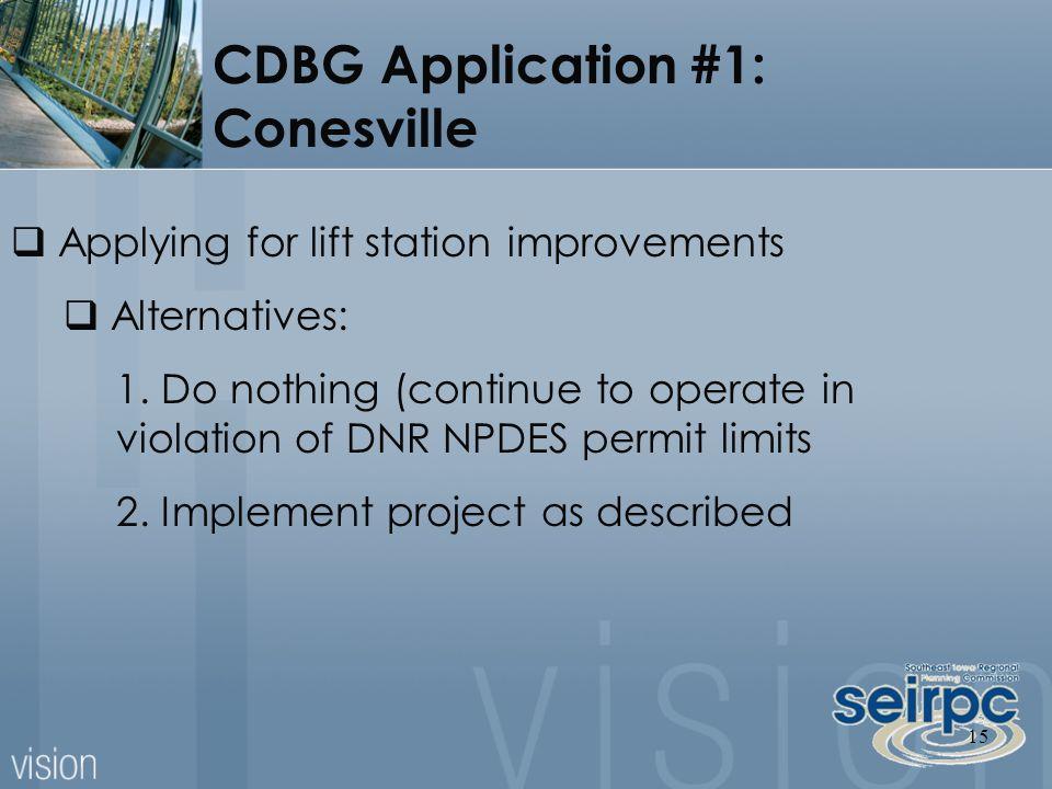 15  Applying for lift station improvements  Alternatives: 1.