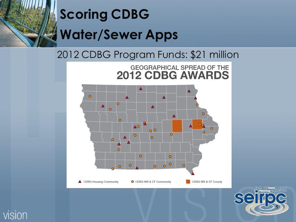 5 Scoring CDBG Water/Sewer Apps 2012 CDBG Program Funds: $21 million
