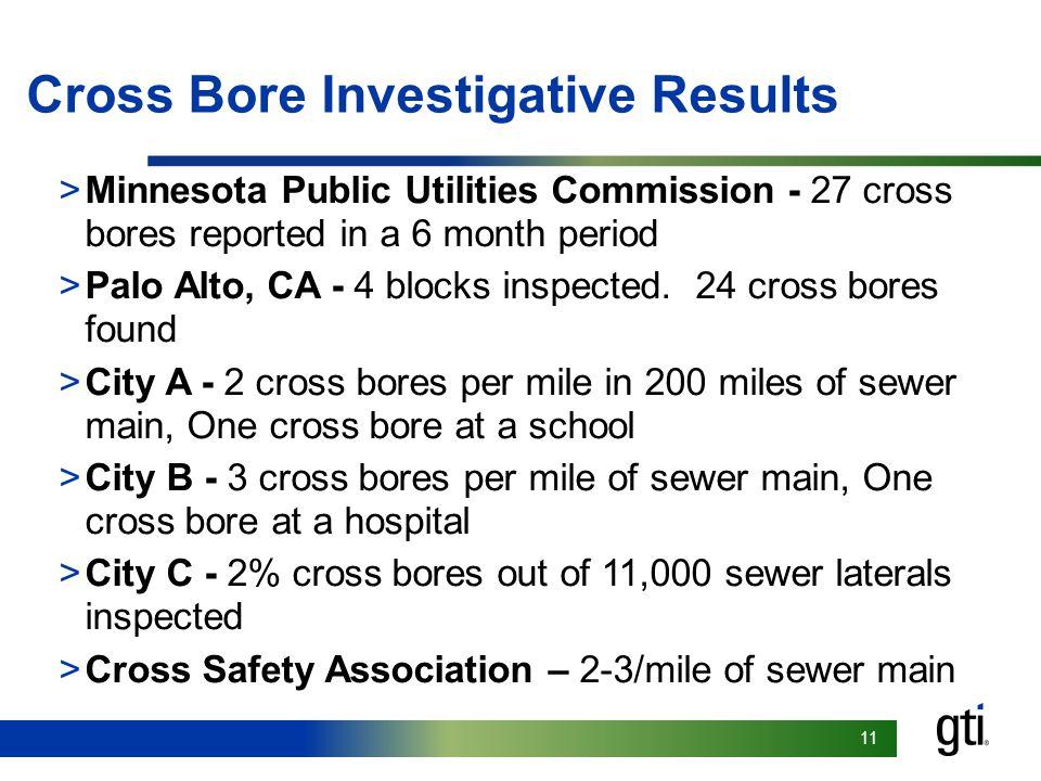 11 Cross Bore Investigative Results >Minnesota Public Utilities Commission - 27 cross bores reported in a 6 month period >Palo Alto, CA - 4 blocks inspected.
