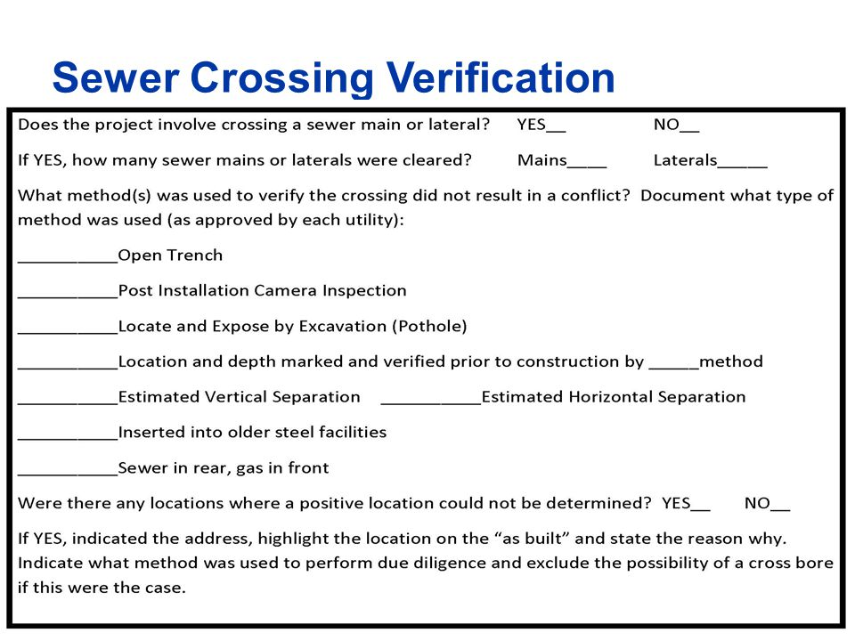33 Sewer Crossing Verification
