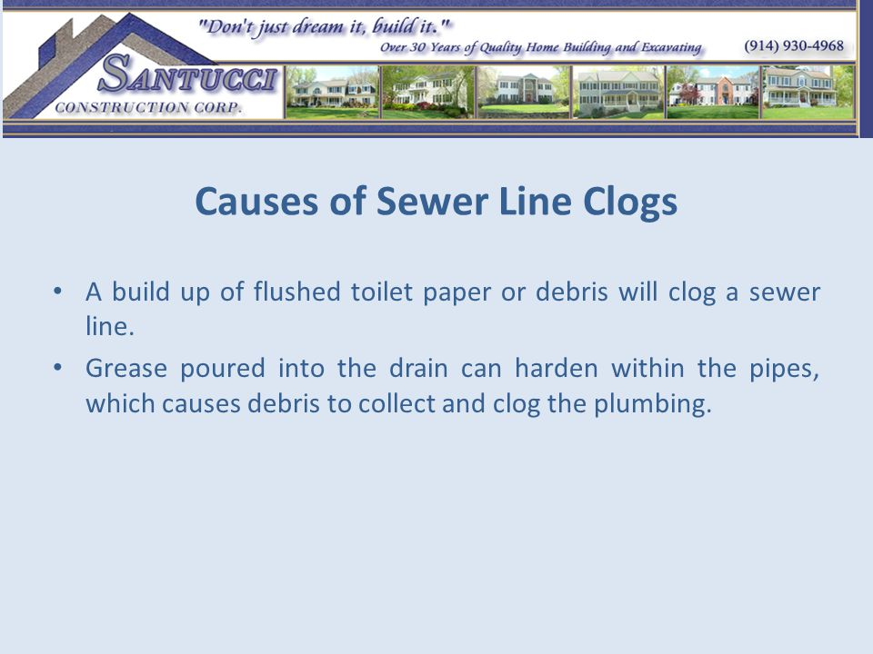 Causes of Sewer Line Clogs Tree roots can block sewer lines and cause clogs.