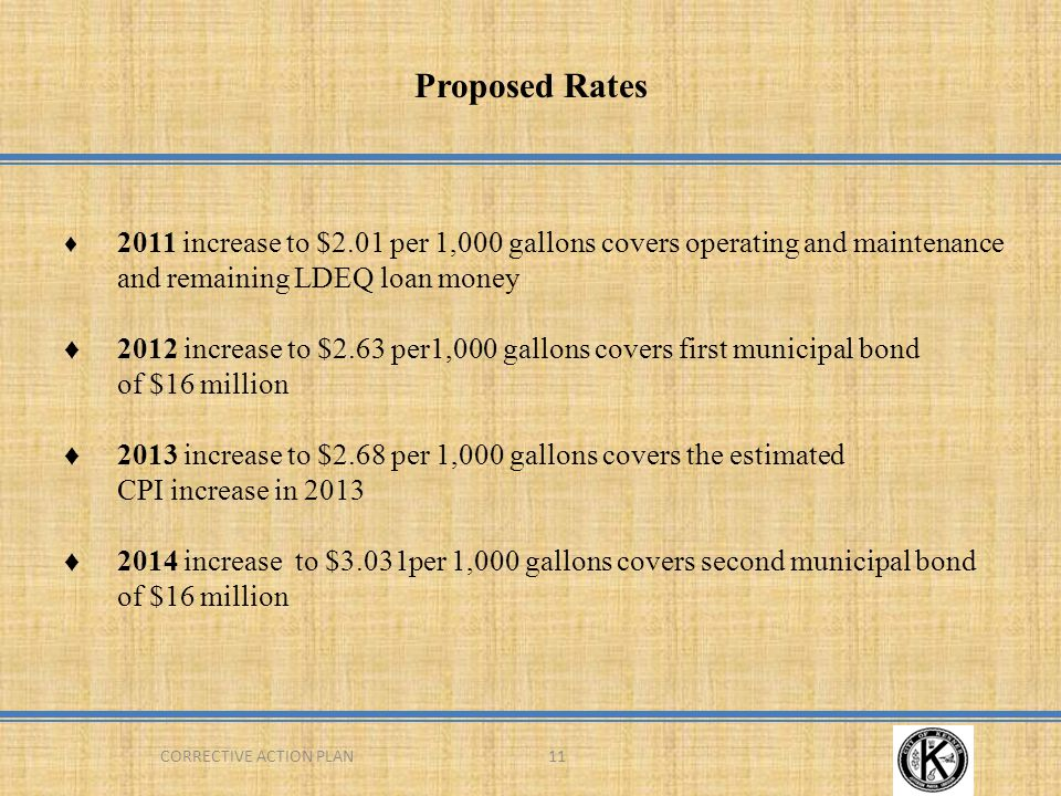 CORRECTIVE ACTION PLAN11 Proposed Rates ♦ 2011 increase to $2.01 per 1,000 gallons covers operating and maintenance and remaining LDEQ loan money ♦2012 increase to $2.63 per1,000 gallons covers first municipal bond of $16 million ♦2013 increase to $2.68 per 1,000 gallons covers the estimated CPI increase in 2013 ♦2014 increase to $3.031per 1,000 gallons covers second municipal bond of $16 million