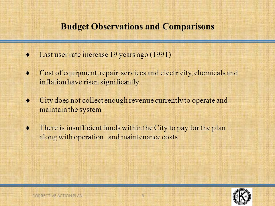 Budget Observations and Comparisons 9CORRECTIVE ACTION PLAN ♦Last user rate increase 19 years ago (1991) ♦Cost of equipment, repair, services and electricity, chemicals and inflation have risen significantly.