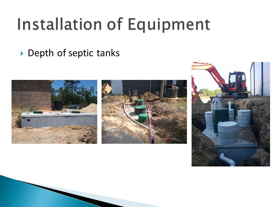  Depth of septic tanks