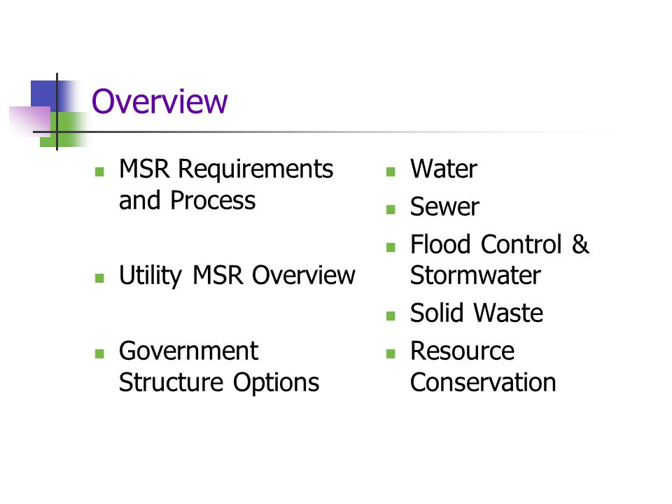 Overview MSR Requirements and Process Utility MSR Overview Government Structure Options Water Sewer Flood Control & Stormwater Solid Waste Resource Conservation