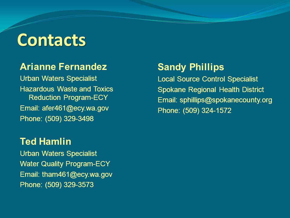 Contacts Arianne Fernandez Urban Waters Specialist Hazardous Waste and Toxics Reduction Program-ECY Email: afer461@ecy.wa.gov Phone: (509) 329-3498 Ted Hamlin Urban Waters Specialist Water Quality Program-ECY Email: tham461@ecy.wa.gov Phone: (509) 329-3573 Sandy Phillips Local Source Control Specialist Spokane Regional Health District Email: sphillips@spokanecounty.org Phone: (509) 324-1572