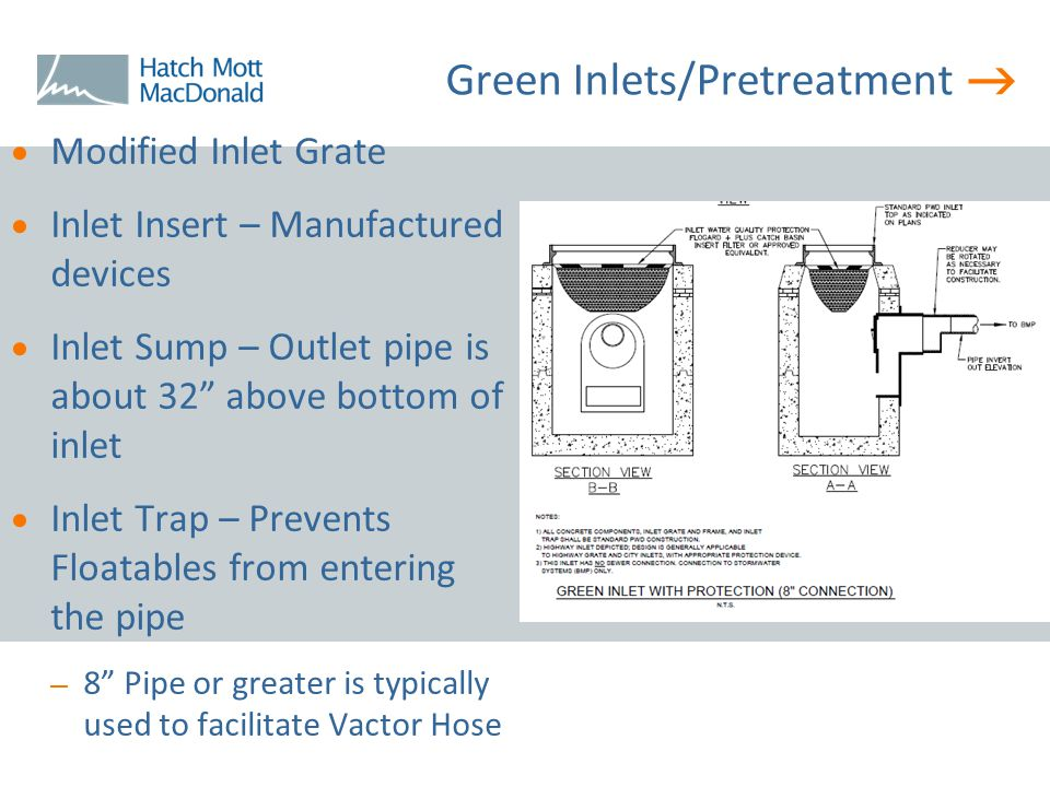 " Green Inlets/Pretreatment  Modified Inlet Grate  Inlet Insert – Manufactured devices  Inlet Sump – Outlet pipe is about 32"" above bottom of inlet"