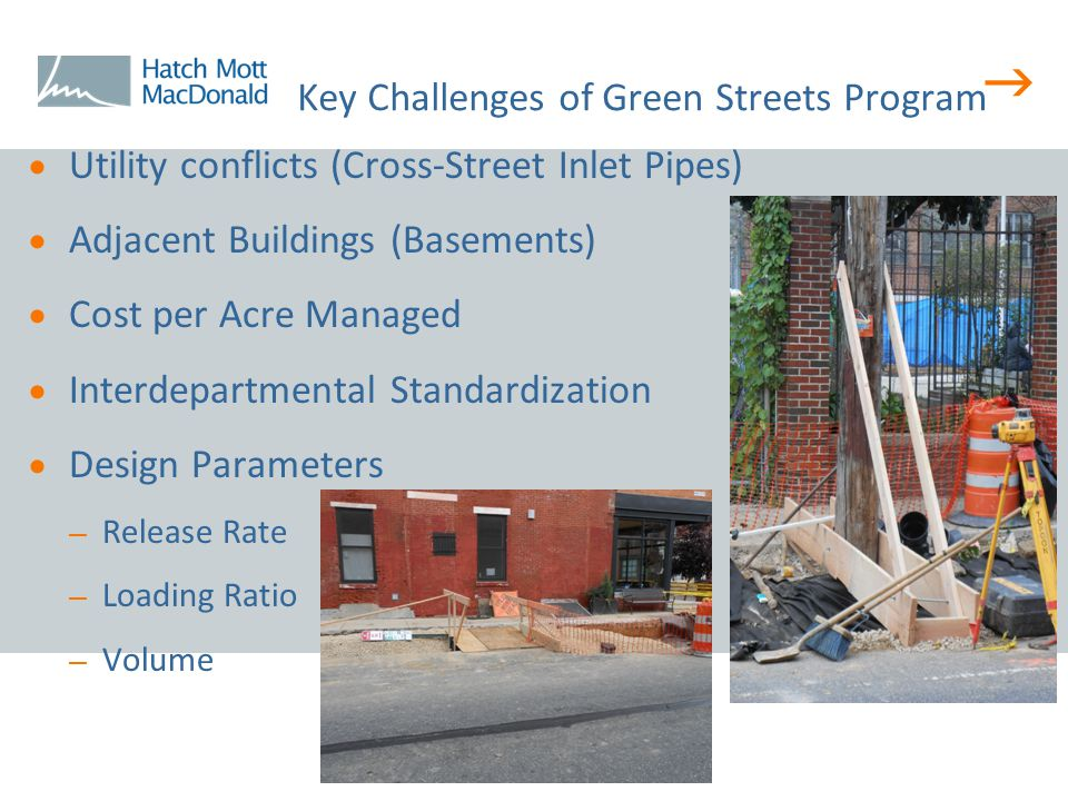  Key Challenges of Green Streets Program  Utility conflicts (Cross-Street Inlet Pipes)  Adjacent Buildings (Basements)  Cost per Acre Managed  In