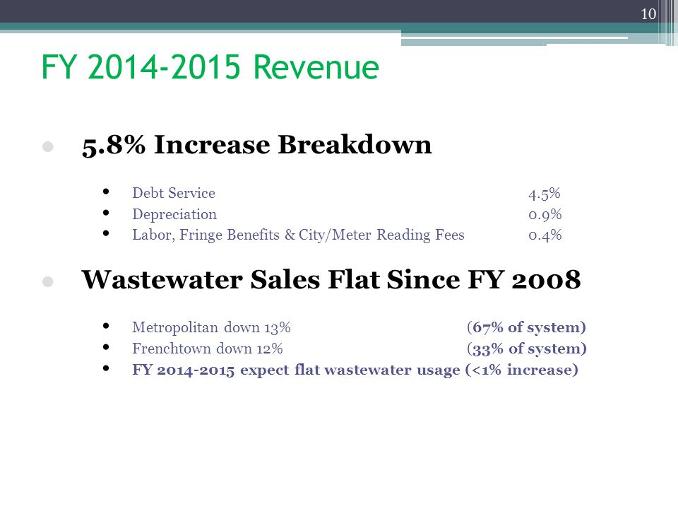 FY 2014-2015 Revenue 5.8% Increase Breakdown Debt Service4.5% Depreciation0.9% Labor, Fringe Benefits & City/Meter Reading Fees0.4% Wastewater Sales Flat Since FY 2008 Metropolitan down 13%(67% of system) Frenchtown down 12%(33% of system) FY 2014-2015 expect flat wastewater usage (<1% increase) 10