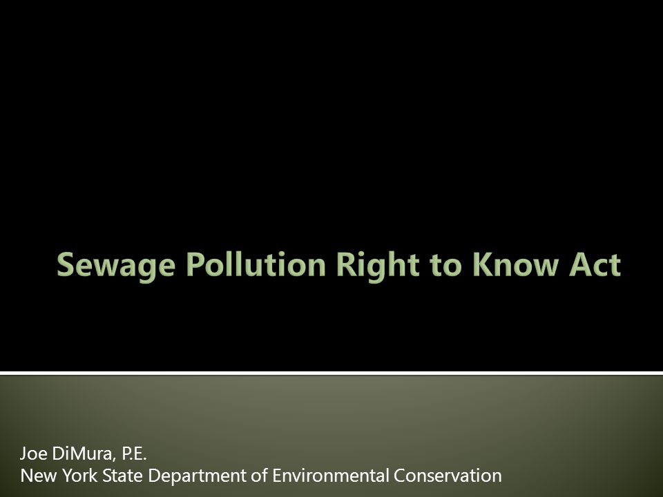  Introduction to Sewage Pollution Right to Know (SPRTK)  DEC Incident Reporting Requirements  Four major provisions of SPRTK  Issues, Questions, and Concerns  Steps taken to implement SPRTK  Future Work