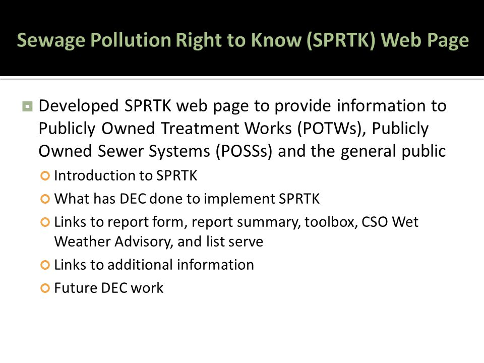  Developed SPRTK web page to provide information to Publicly Owned Treatment Works (POTWs), Publicly Owned Sewer Systems (POSSs) and the general public Introduction to SPRTK What has DEC done to implement SPRTK Links to report form, report summary, toolbox, CSO Wet Weather Advisory, and list serve Links to additional information Future DEC work