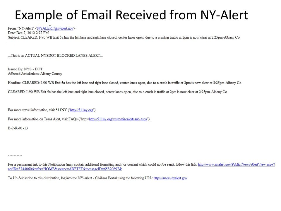 Example of Email Received from NY-Alert
