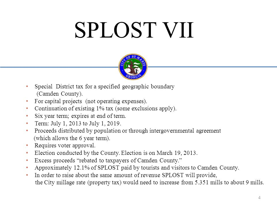 SPLOST VII Special District tax for a specified geographic boundary (Camden County).